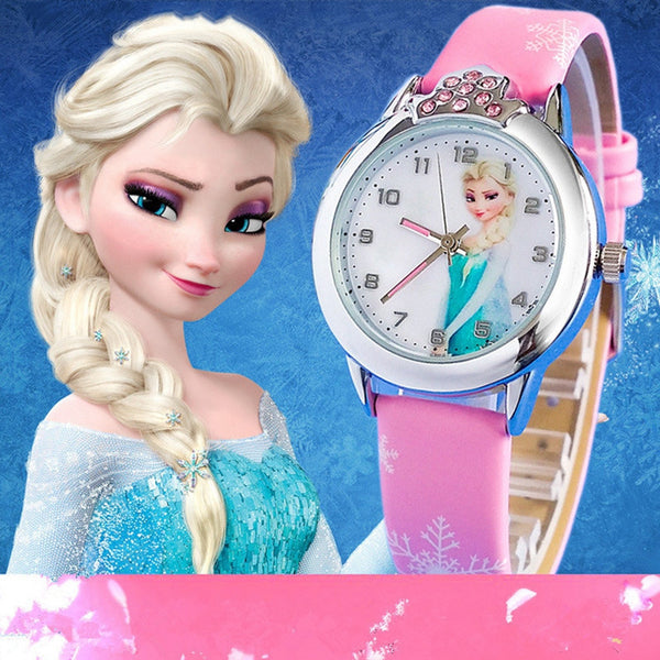 Presale New Cartoon Children Watch Princess Elsa Anna Watches Fashion Girl Kids Student Cute Leather quartz Wrist Watches-Children's Watches-Enso Store-hot pink-Enso Store