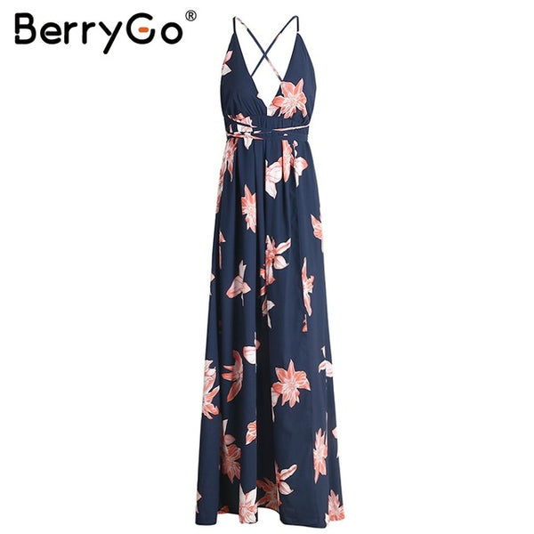 BerryGo Boho deep v neck backless long women dress Chiffon split cross lace up summer dress Sleeveless beach maxi dress vestidos
