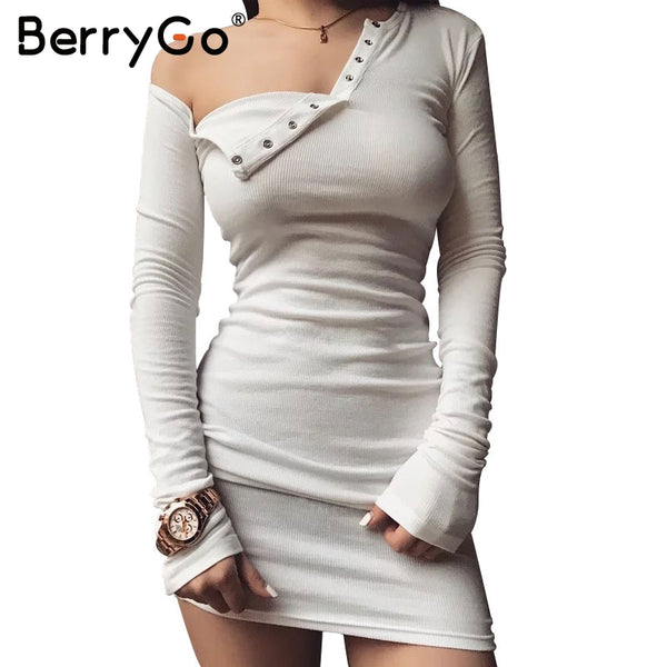 BerryGo Elegant one shoulder bodycon dress