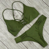 2017 Women Bandage Thong Brazilian Bikinis Swimwear Female Sexy Green Bandeau Push up Swimsuit Bikini Set Beachwear Biquini