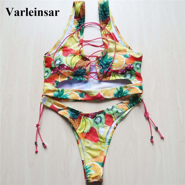2018 New African Sexy Thong Bikini Lace Up Swimwear Women Bikini Set Two Pieces Swimsuit Biquini Bathing Suit female Bather V524