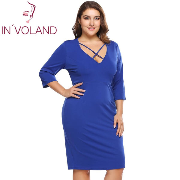 5a978235c522f IN'VOLAND Women Pencil Dress Plus Size XL-4XL Spring Summer Sexy Vintage  Large Bandage Bodycon Party Dresses Vestidos Big Size
