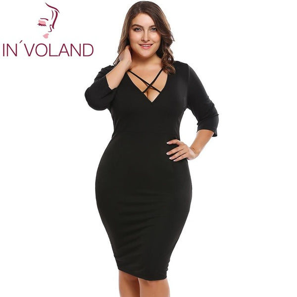 IN'VOLAND Women Pencil Dress Plus Size XL-4XL Spring Summer Sexy Vintage Large Bandage Bodycon Party Dresses Vestidos Big Size