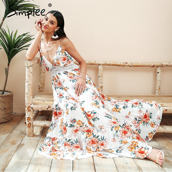 Simplee Boho print backless long summer dress Women floral deep v neck sexy dress 2018 White lace loose beach dress vestidos - EnsoStore