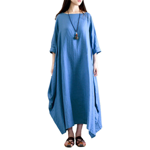 Plus Size Cotton Linen Dress For Women 3xl 4xl 5xl Loose Baggy Vintage Solid Boho Maxi Shirt Dress Pocket Long Sleeve Gown Robe