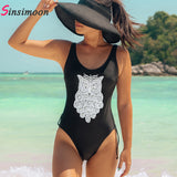 2018 Owl Swimsuit Bead One Piece Swim Suit Women Animal Swimwear Bandage Beachwear Bandeau Bathing Suit Black Swimming Wear