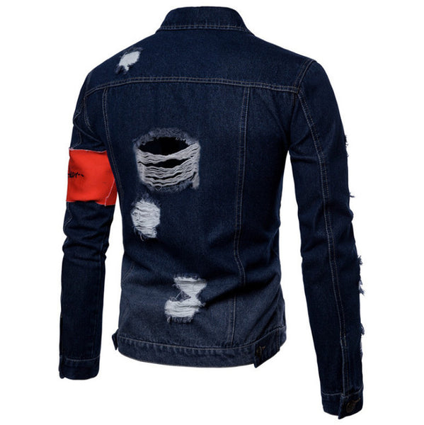 2018 Spring Denim Jacket Men Slim Fit Hole Jeans Jackets Europe and America Vintage Fashion Male Cowboy Streetwear jean clothing