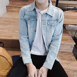 AmberHeard 2018 Spring Men's Denim Jacket High Quality Fashion Jeans Coats Male Slim Fit Streetwear Hole Bomber Jackets Clothing