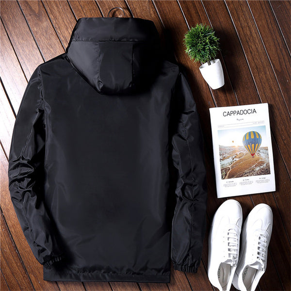 2018 Spring Autumn New Fashion Slim Fit Young Men Hooded Jacket Thin Jackets Brand Casual Windbreaker Top Quality 3 Colors M-5XL