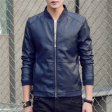 Casual Leather Jacket Baseball Uniform Slim Spring Autumn O-Neck Zipper