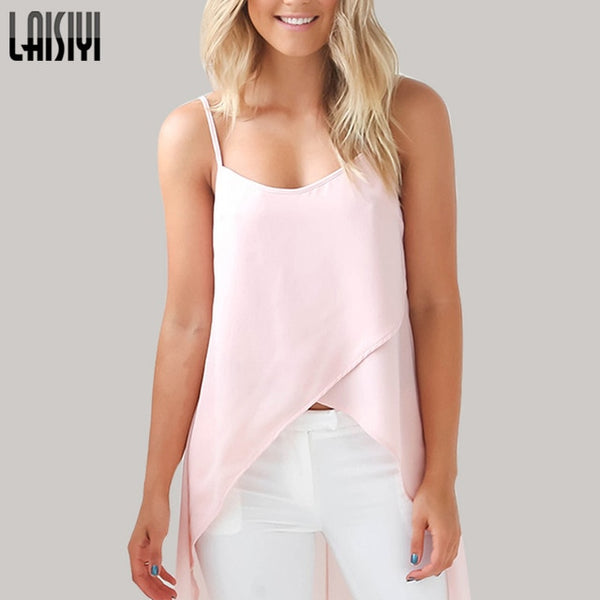 LAISIYI Summer Dress 2019 Sexy Casual Pink White Chiffon Beach Dress Women Clothing Robe Femme Vestido De Festa DR2220