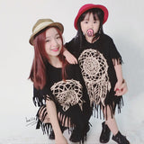 QZ-496 2016 fashion girls summer dresses printed Tassel dress matching mother daughter family lady child clothing Dresses 2016-Family Matching Outfits-Enso Store-as picture-85cm to 90cm-Enso Store