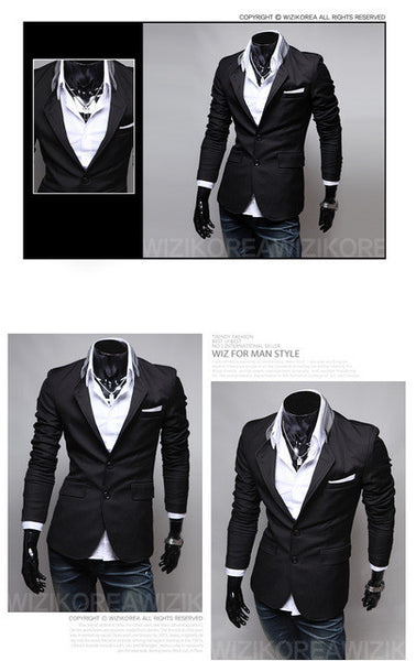 Red Black Grey New Male Casual Suit Solid Color Two Button Men S