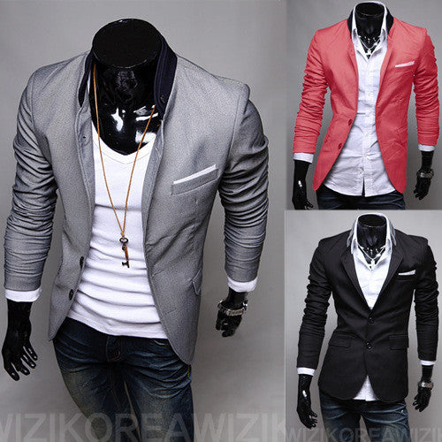 Red black Grey New Male Casual Suit Solid Color Two Button Men's Suit Jacket Size Large Cargo Skinny Slim Fashion Clothing-Men's Suits & Blazers-Enso Store-SK black-M-Enso Store