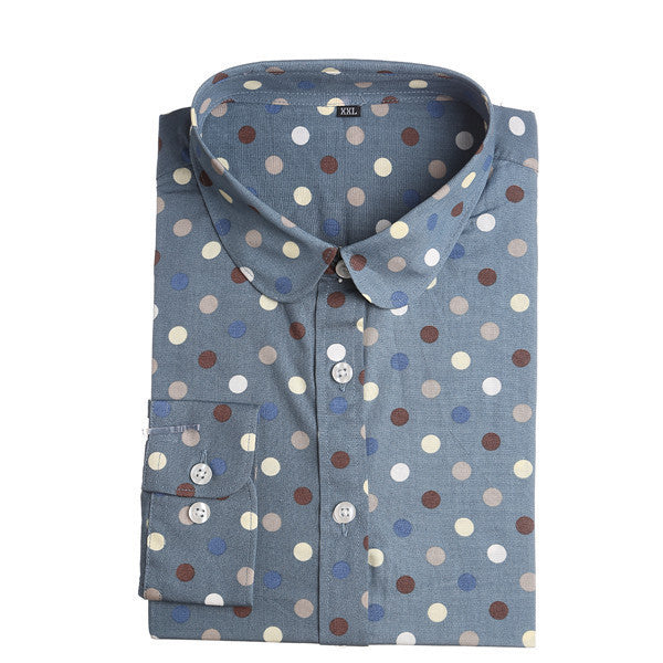 Red Polka Dot Shirts Women Cotton Blouses Long Sleeve Ladies Tops Collar Shirt Female Plus Size 5XL Blusas Clothing For Women-Women's Blouses-Enso Store-bigblue-4XL-Enso Store