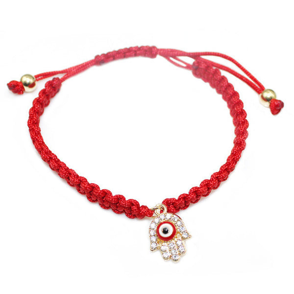 Red String handmade hamsa hand eye charm bracelet bring you lucky protect  peaceful friendship turkish jewelry 35f9ed5afdbc