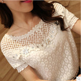 S-5XL Blusas 2017 Spring Summer Women Long Sleeve White Lace Floral Blouse Shirts O neck Hollow Out Casual Tops Plus Size-Women's Blouses-Enso Store-Short Sleeve-M-Enso Store