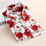 S-5XL Cotton Long Sleeve Shirt Women 2016 Turn Down Collar Plus Size Women Blouses with Button Long Sleeve Chemisier Femme-Women's Blouses-Enso Store-gray floral-4XL-Enso Store
