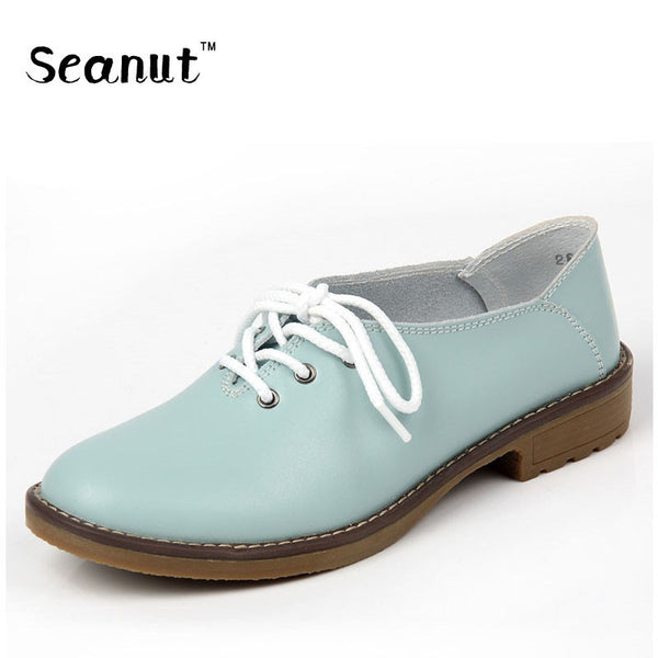 8666b55810 SEANUT Plus Size 35-42 Genuine Leather Shoes Woman Oxford Shoes Lace Up  Casual Shoes Four Seasons Ballet Flats Zapatos Mujer