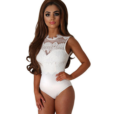 SEBOWEL 2017 Sexy Bodysuit Women Black Lace High Neck Cut Out Back Bodycon Jumpsuits Romper Combinaison Shorts Playsuits-Enso Store-White-S-Enso Store