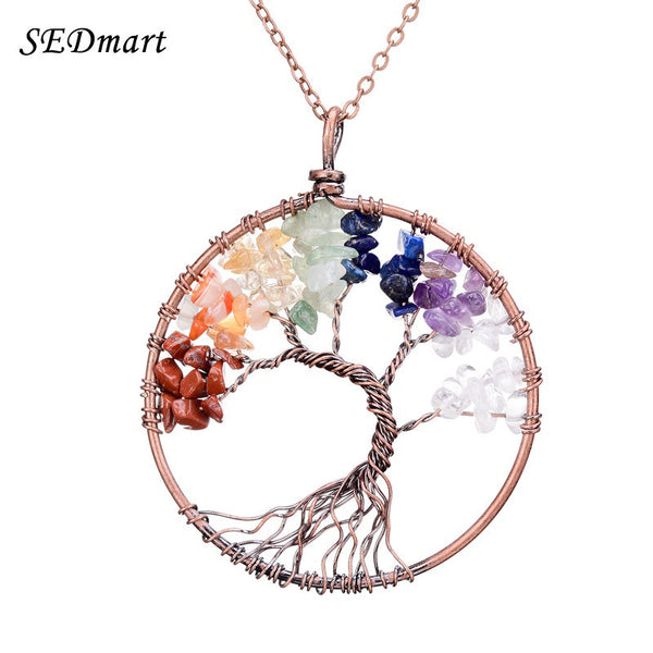 SEDmart 7 Chakra Tree Of Life Pendant Necklace Copper Crystal Natural Stone Necklace Women-Necklaces & Pendants-Enso Store-Amethyst-Enso Store