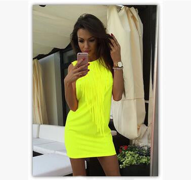 Sexy Women Dress Tassel Fluorescent Color Summer Casual Dress Sleeveless Slim Fit Mini Dress Lady Vestidos LJ4898R-Women's Dresses-EnsoStore-Fluorescent green-L-Enso Store