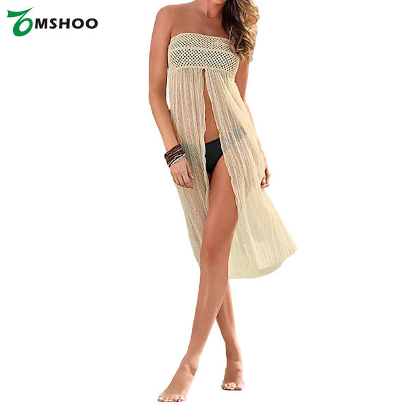 Sexy Women Swimsuit Cover Up Crochet Hollow out Meshy Beachwear Bikini Dress Skirt Summer Beach Beige-Women's Swimwear-Enso Store-Enso Store