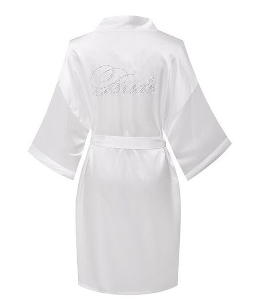 Sexy Yukata Night Bride Bridesmaid Robe Short Satin Wedding Robes Maid of Honor Edition Dressing Gown Bathrobe Pajamas-Enso Store-bride white-M-Enso Store