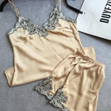 Silk satin lace ladies nightwear two-pieces pajamas sets with short pants high quality women's indoor suits soft sleepwear sexy - EnsoStore