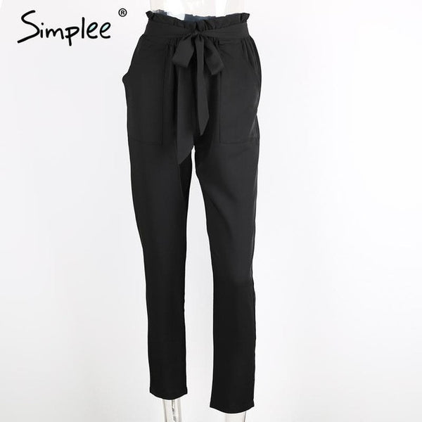 Simplee Apparel OL chiffon high waist harem pants Women stringyselvedge summer style casual pants female 2016 New black trousers - EnsoStore