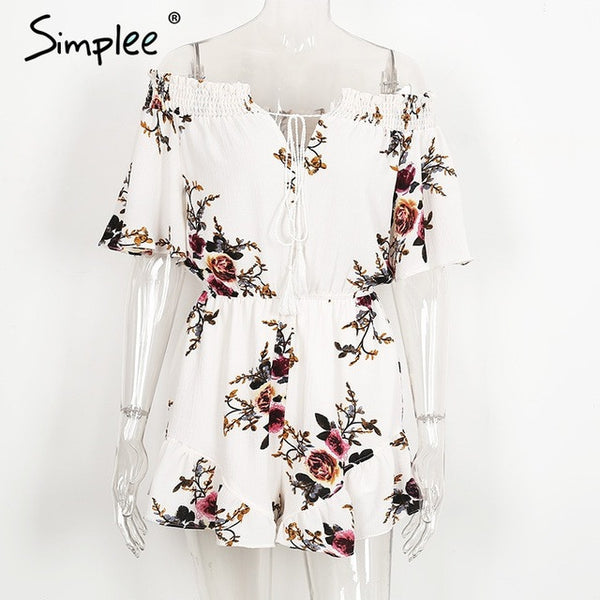 Simplee Off shoulder print jumpsuit romper women Sexy high waist summer beach playsuit Boho tassel chiffon overalls leotard - EnsoStore