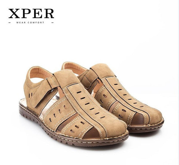 9f83cc5f040ae1 ... Size 40~45 Brand XPER Men Sandals Shoes Fretwork Breathable Fisherman  Shoes Style Retro Gladiator ...
