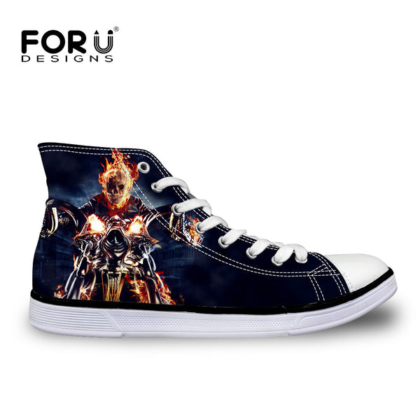 9ef6adc65af Skull Harley print Ghost Rider Canvas Shoes Punk Rock High Lace Up Men s  Shoes Breathable Superstar Male Footwear Walking Shoes