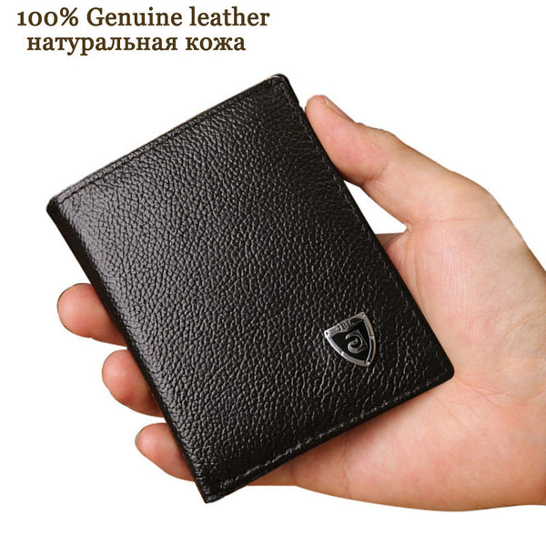Small wallet men genuine leather purses cowhide mini wallets black and brown-Men's Wallets-Enso Store-Black-Enso Store