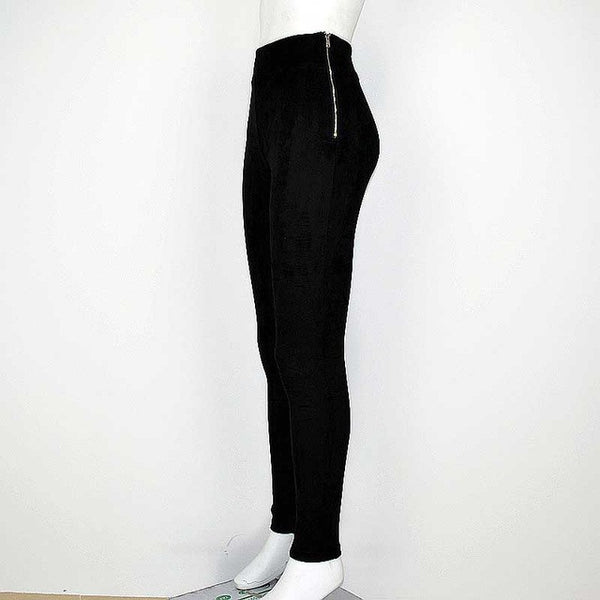 SMOVES Good Elasticity Side Zipper High Waist Womens Suede Pants Winter Pant Autumn Spring Stretchable Skinny Tight Pencil Pant - EnsoStore