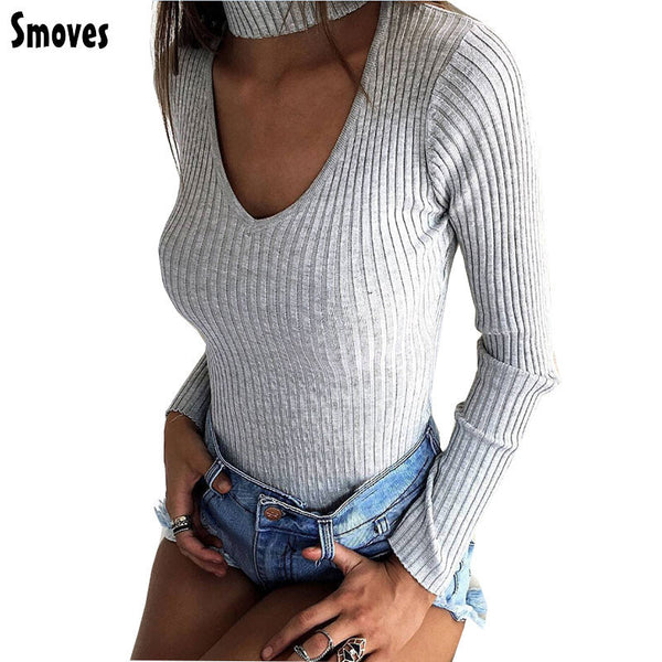 Smoves Sexy Choker High Neck Plunge V Long Sleeve Shoulder Women Autumn Spring Ribbed Bodysuits Playsuits Rompers Jumpsuits New - EnsoStore