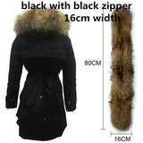 Soperwillton New 2017 Winter Jacket Women Real Large Raccoon Fur Collar Thick Loose size Coat outwear Parkas Army Green #A050-Enso Store-black fur 16cm-S-Enso Store