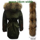 Soperwillton New 2017 Winter Jacket Women Real Large Raccoon Fur Collar Thick Loose size Coat outwear Parkas Army Green #A050-Enso Store-green 16cm-S-Enso Store