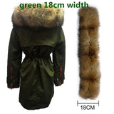 Soperwillton New 2017 Winter Jacket Women Real Large Raccoon Fur Collar Thick Loose size Coat outwear Parkas Army Green #A050-Enso Store-green 18cm-S-Enso Store