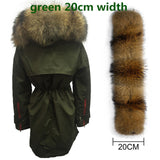 Soperwillton New 2017 Winter Jacket Women Real Large Raccoon Fur Collar Thick Loose size Coat outwear Parkas Army Green #A050-Enso Store-green 20cm-S-Enso Store