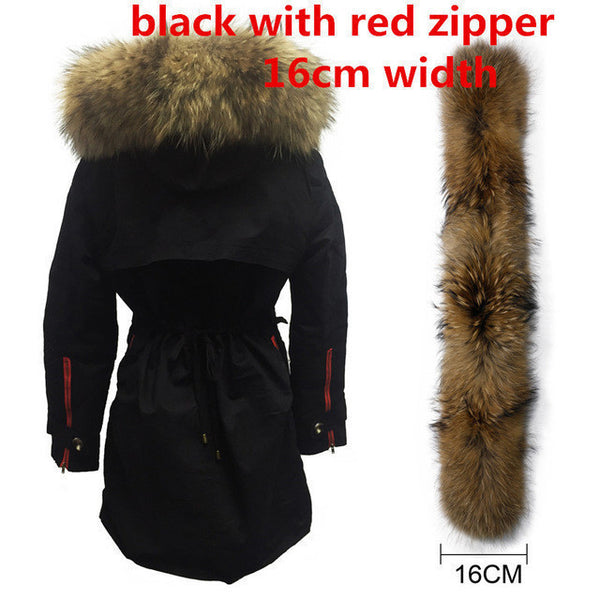 Soperwillton New 2017 Winter Jacket Women Real Large Raccoon Fur Collar Thick Loose size Coat outwear Parkas Army Green #A050-Enso Store-red zipper fur 16cm-S-Enso Store