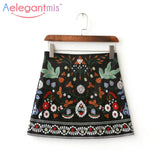 Spring 2017 A-Line Mini Ethnic Women Skirts Short Black Embroidered Skirt High Waist Floral Vintage Embroidery Skirts Female - EnsoStore