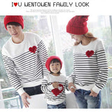spring striped t-shirt mother mommy and me daughter father son kids baby clothes matching family outfits clothing family look - EnsoStore