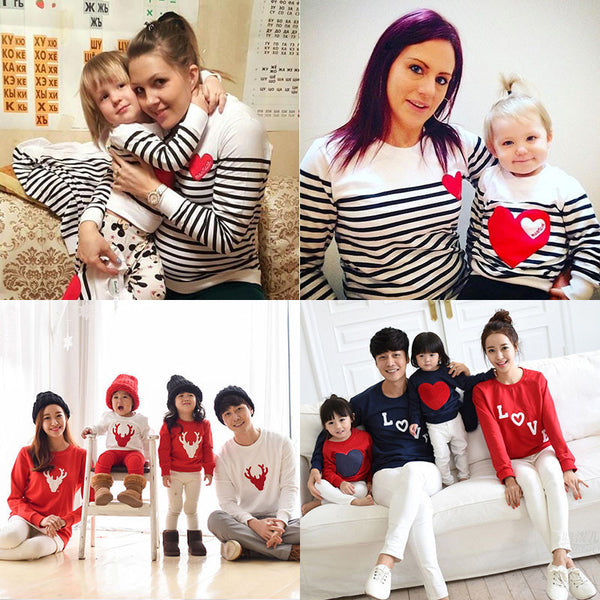 3cd06aaaf256 spring striped t-shirt mother mommy and me daughter father son kids baby  clothes matching family outfits clothing family look