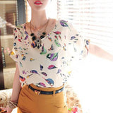 Summer Fashion O Neck Bird Printed Women Tops Colorful Short Sleeve Female T-Shirts Batwing Loose Chiffon Shirt Feminino - EnsoStore