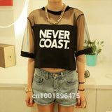 Summer Lady Women Crew Neck Gauze T-Shirt Loose Crop Tops Short Casual Black, White - EnsoStore