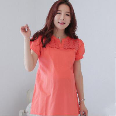 Summer Style Fashion Pure Cotton Maternity Clothing Blouses Large Size Short Sleeve Embroidery Shirts For Pregnant Women - EnsoStore