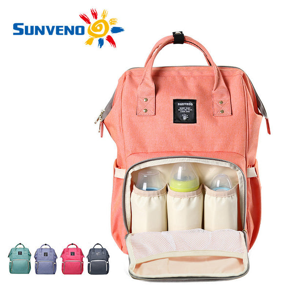 Sunveno Fashion Mummy Maternity Nappy Bag Brand Large Capacity Baby Bag Travel Backpack Desinger Nursing Bag for Baby Care-Baby Care-Enso Store-black-Enso Store