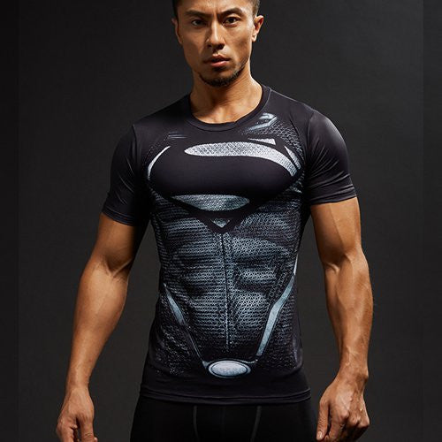 Superman 3D Printed T-shirts Men Compression Shirts Short Sleeve Funny Cosplay costume Fitness Body Building Male Crossfit Tops-Men's Tops & Tees-Enso Store-Black-S normal sleeve-Enso Store