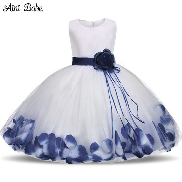 96b7a2dd2 Toddler Girl Baptism Dress Christmas Costume Petals Baby Girl Dress 1 Year  Birthday Gift Kids Party ...